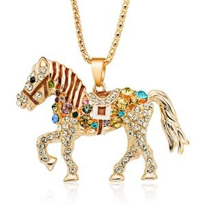 Gold Necklace with a Saddled Crystal Horse Pendant
